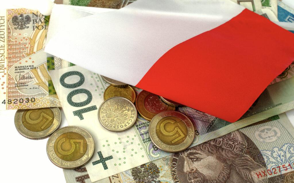 polska flaga i złoty